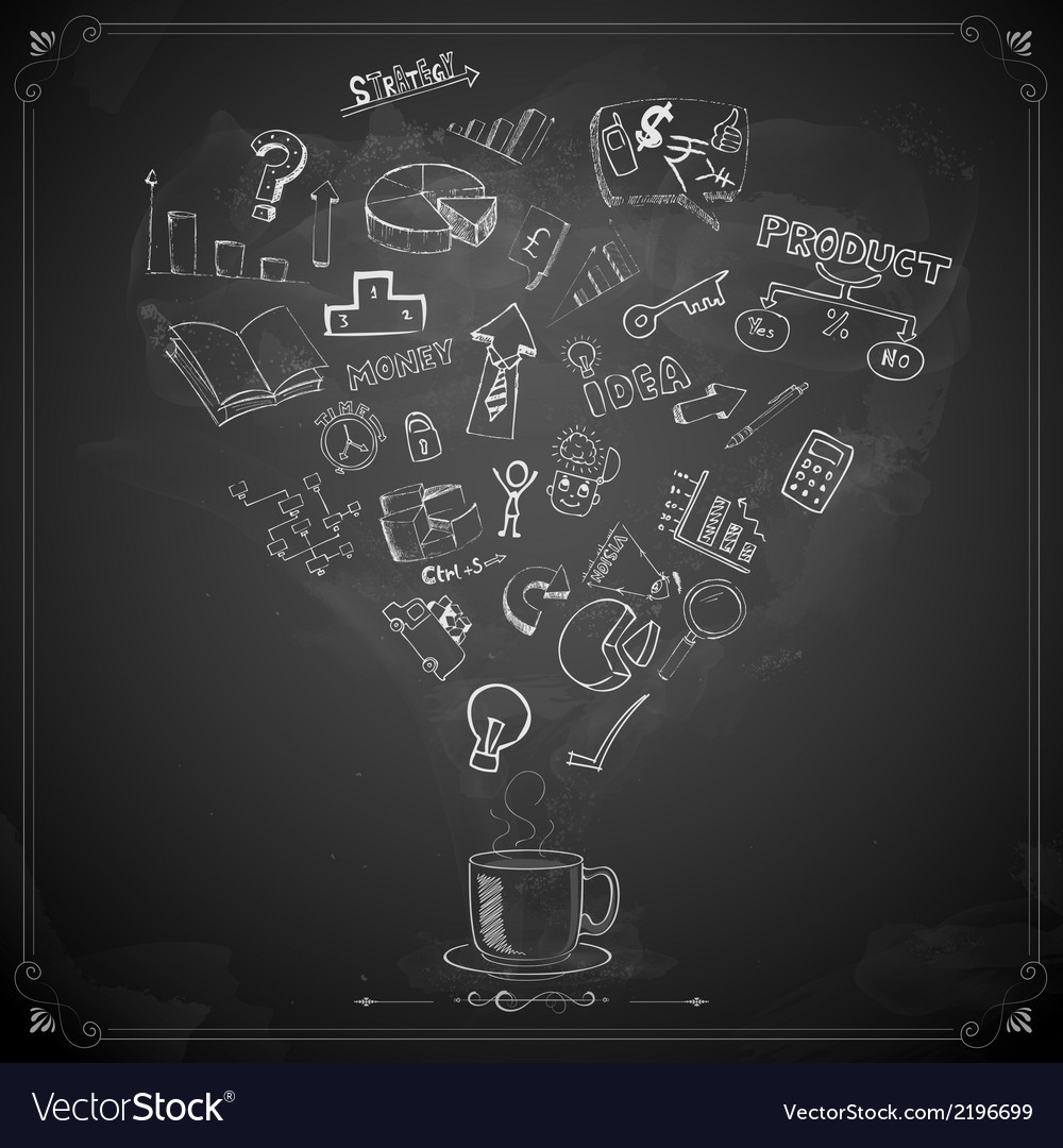 Business doodle on chalkboard vector | Price: 1 Credit (USD $1)