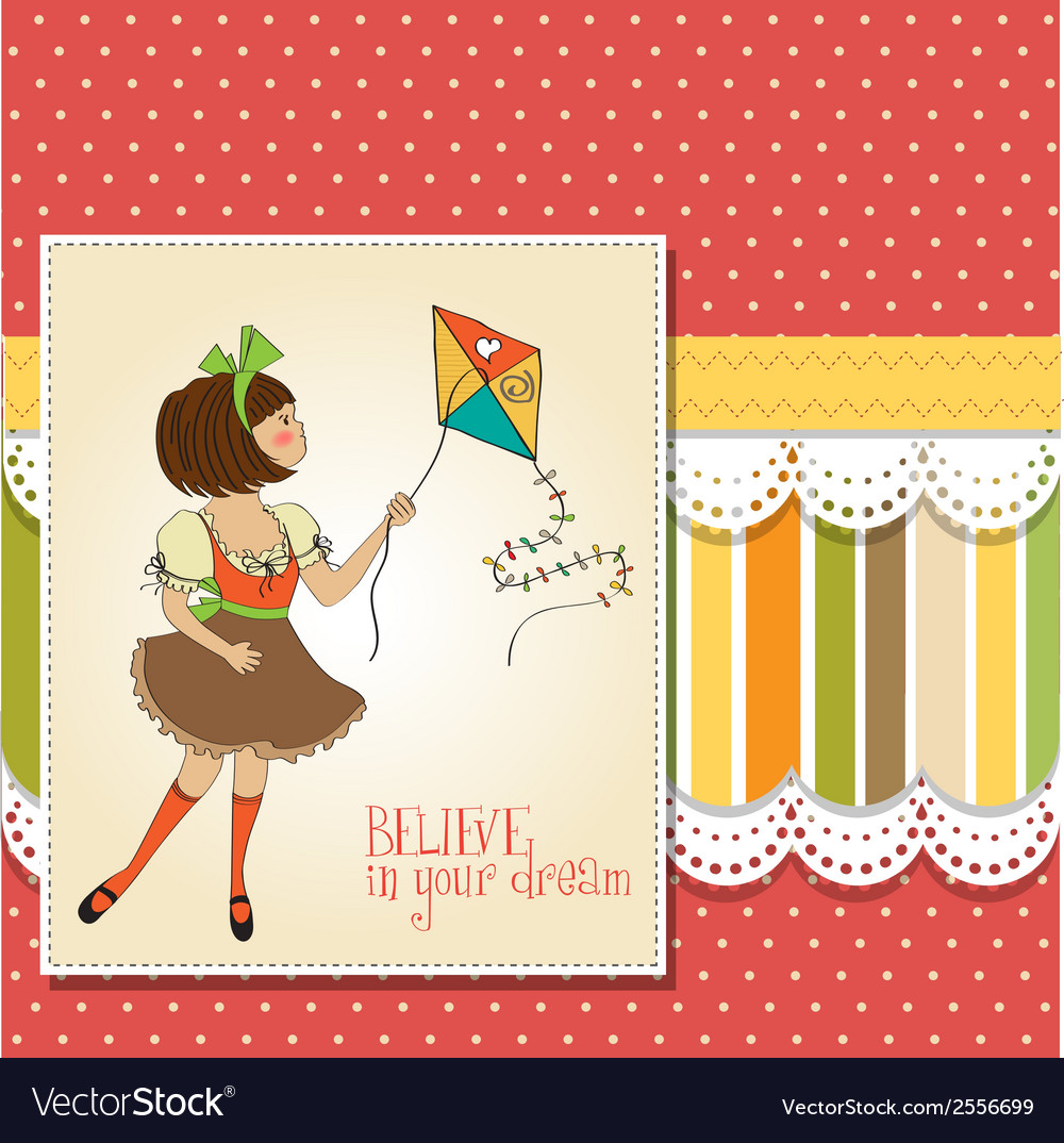 Cute teens who are playing with a kite vector | Price: 1 Credit (USD $1)