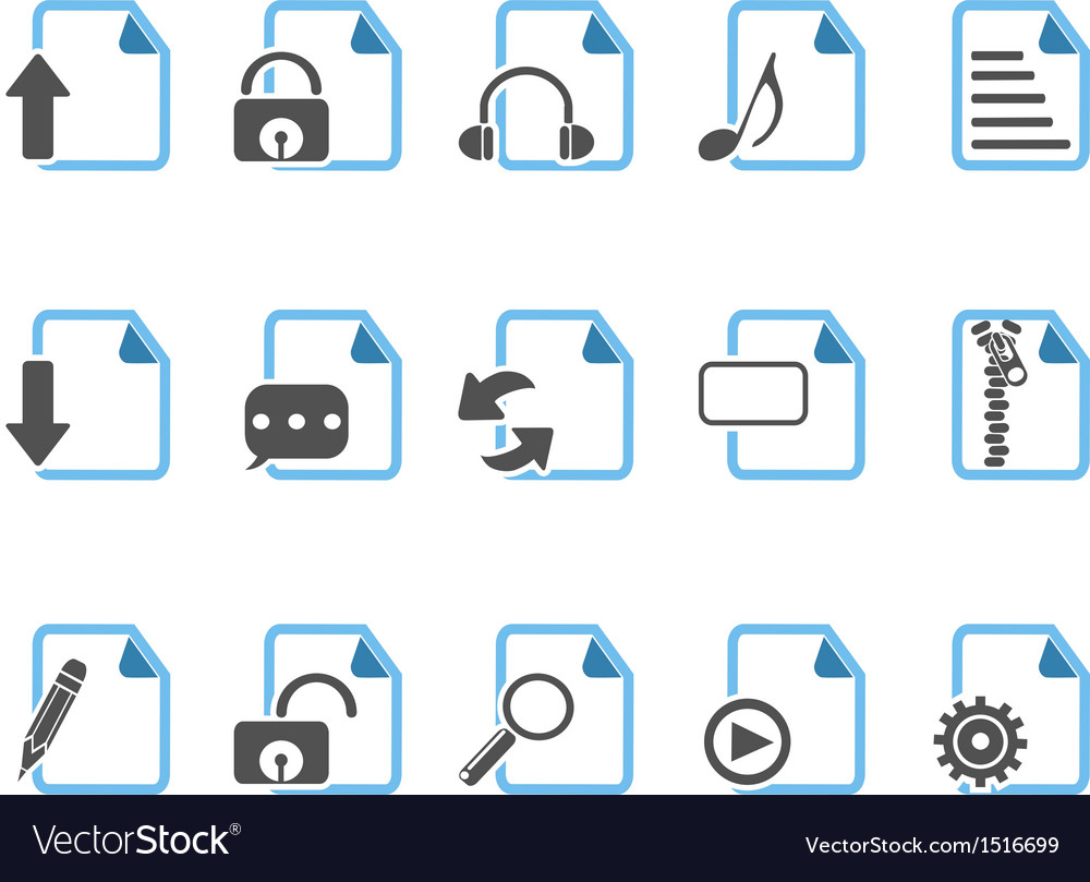 Document icons blue series vector | Price: 1 Credit (USD $1)