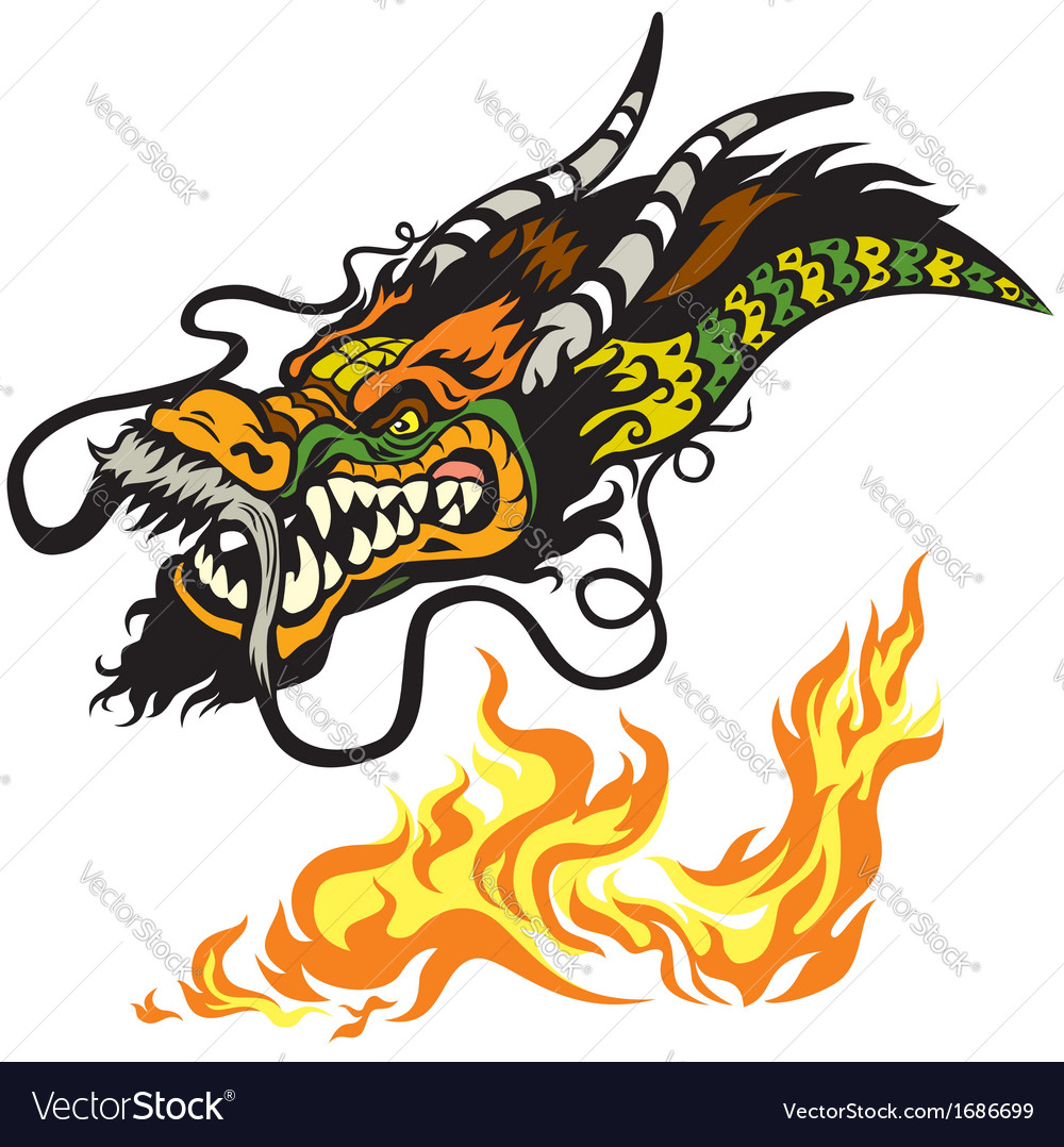 Dragon head tattoo vector | Price: 1 Credit (USD $1)