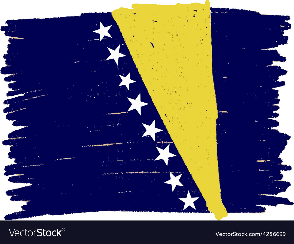 Flag of bosnia and herzegovina handmade vector | Price: 1 Credit (USD $1)