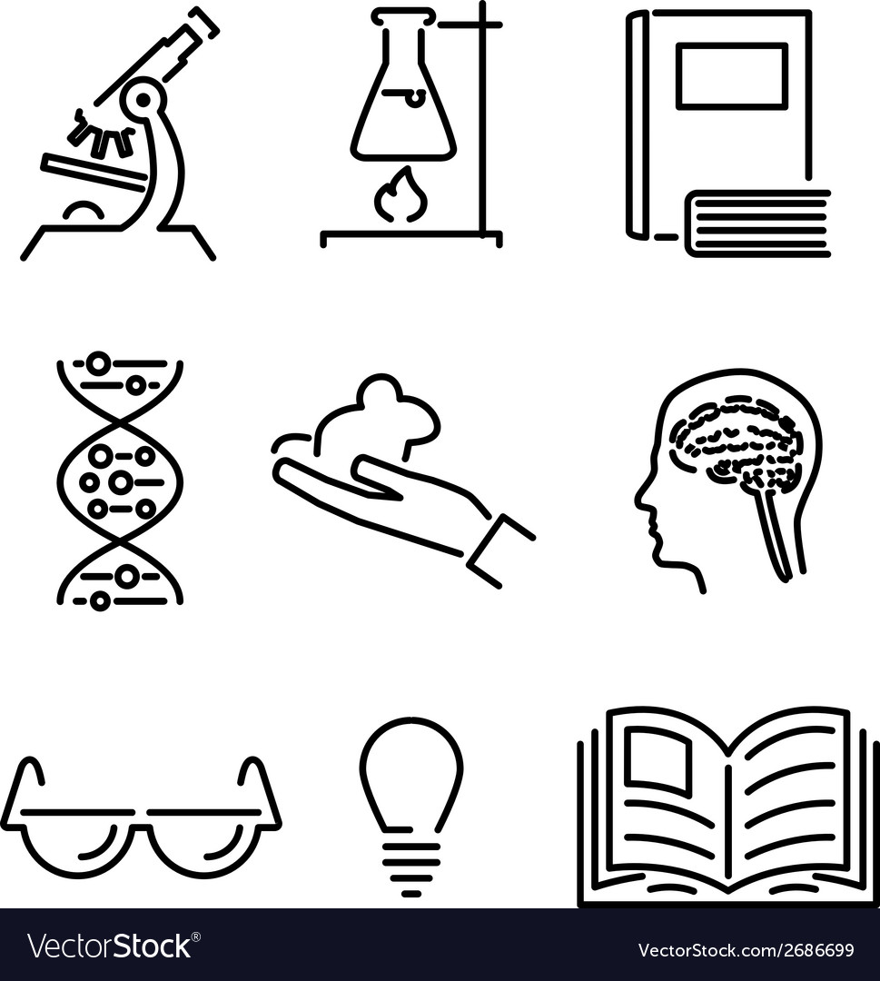Modern line science knowledge study icons and vector | Price: 1 Credit (USD $1)