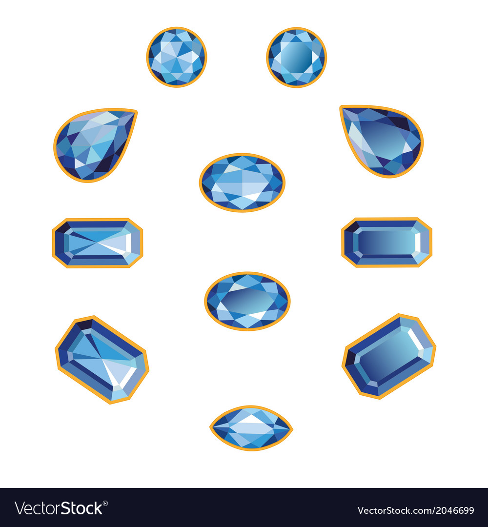 Sapphire set isolated objects vector | Price: 1 Credit (USD $1)