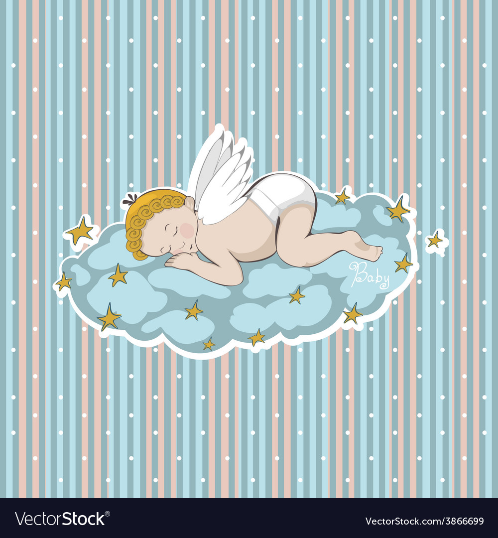 Sleeping angel on a cloud with stars vector