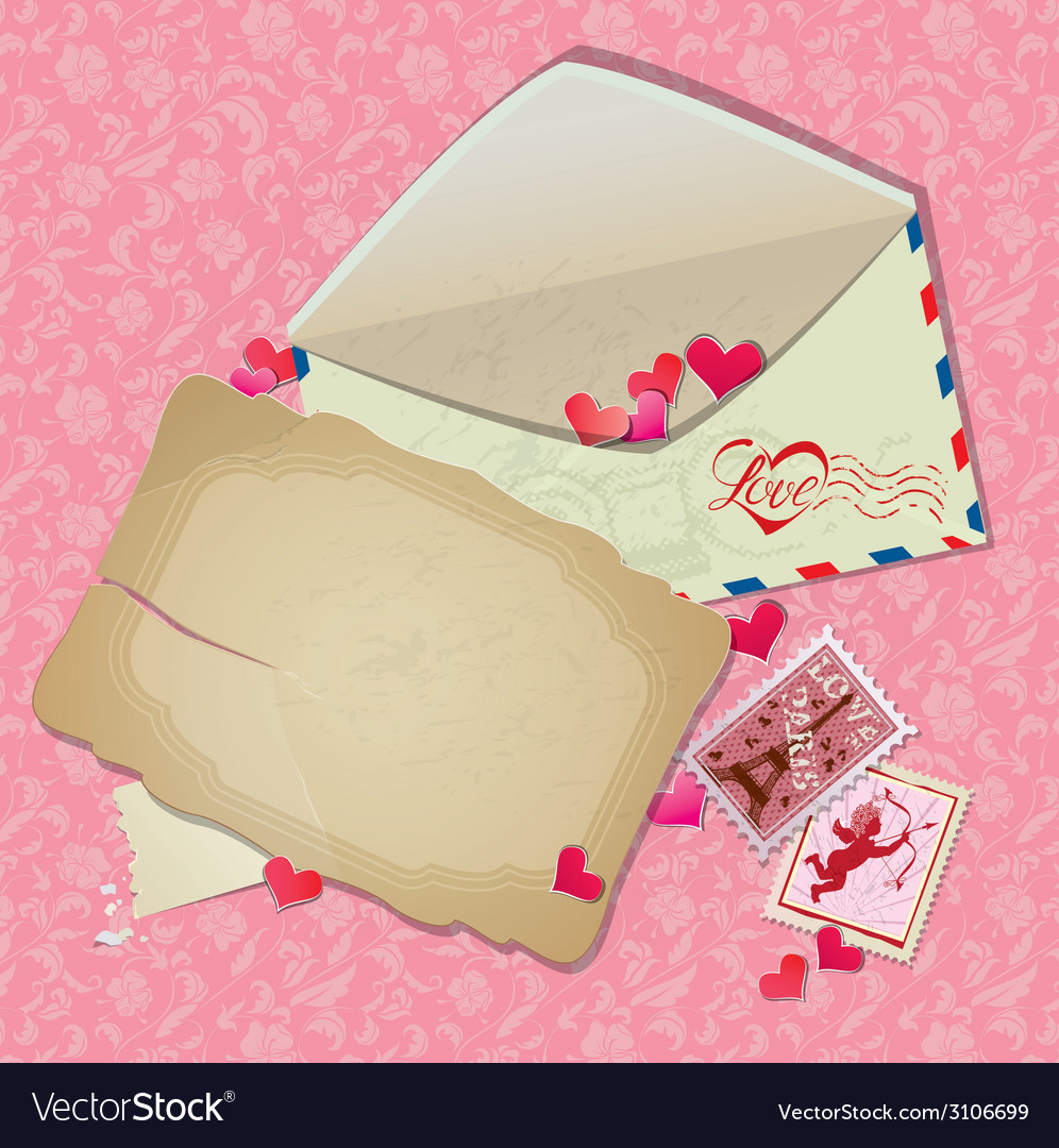 Vintage postcard envelope post stamps paper hearts vector | Price: 1 Credit (USD $1)