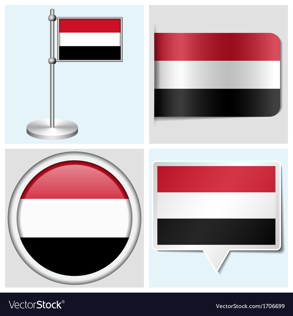 Yemen flag - sticker button label flagstaff vector | Price: 1 Credit (USD $1)