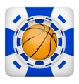 Square blue casino chips of basketball sports vector