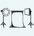 Photo studio with lighting equipment vector