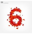 Number 6 numbers with origami paper bird on vector