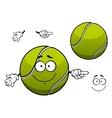 Cheerful green tennis ball cartoon character vector