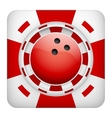 Square red casino chips of bowling sports betting vector
