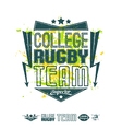Rugby emblem bright print and design elements vector