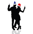 Girl and man with christmas hat vector