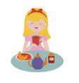 Cute girl drinks tea vector