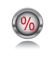 Metal button with percent sign vector