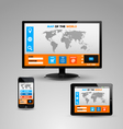 Monitor smartphone and a tablet with websites vector