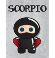 Zodiac sign scorpio with cute black ninja vector