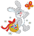 Easter bunny carries a basket of eggs vector