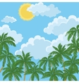 Tropical palms sky with sun and clouds vector