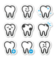 Tooth dental icons set vector