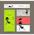 Business cards with black cats for your design vector