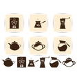 Print brown coffee icons set and cafe icon vector