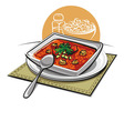 Gazpacho soup with croutons vector