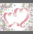 Two ribbon hearts with floral background vector
