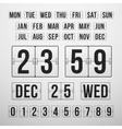 Countdown timer and date calendar scoreboard vector