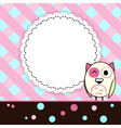 Template blue and pink greeting card with owl vector