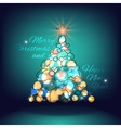 Merry christmas and happy new year christmas tree vector