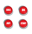 Red buttons with signs - sale buy ok and start vector