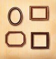 Wooden vintage frames on old wall vector