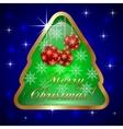 Glass christmas tree with ball and snowflakes vector