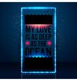 My love is as deep as the ocean typography design vector