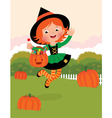 Girl in witch costume celebrates halloween vector