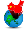 Flag china map on the earth vector
