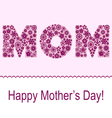 Mothers day card with flower symbol set vector