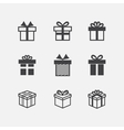 Gift box black icons vector