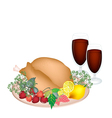 Thanksgiving turkey with lemon berry fruit vector