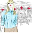 Fashion girl in the parisian cafe vector