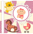 Scrapbooking card for baby girl vector