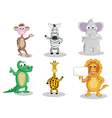 Six cartoon animals isolated on white vector