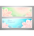Two flowers banners on green marine background vector