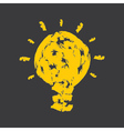 Creative bulb with yellow paint strokes vector