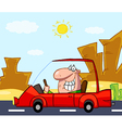 Man driving his red car on a desert road vector