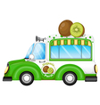 A green vehicle selling kiwi fruits vector