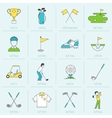 Golf icons flat line vector