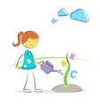 Girl watering plant vector