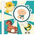 Scrapbooking card for baby boy vector